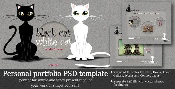 Black Cat – White Cat personal template Free Download