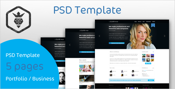 Curedesign Portfolio / Business PSD Template Free Download