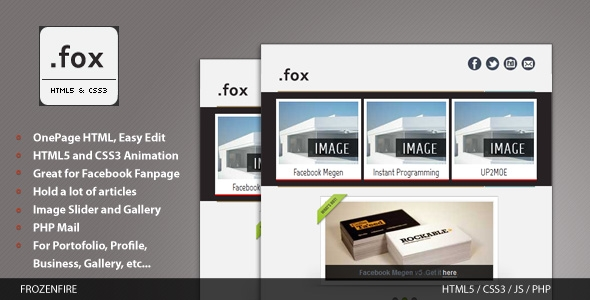 fox - HTML5 Website for Facebook and Mobile