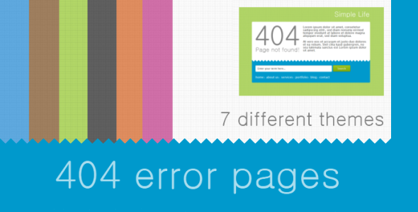 Simple 404 Error Pages with 7 Themes