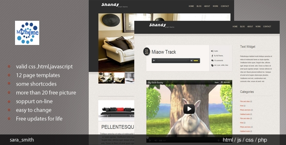 Shandy valid HTMLCSS Template