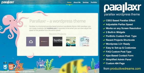 Parallaxr - Single Page Parallax Wordpress Theme