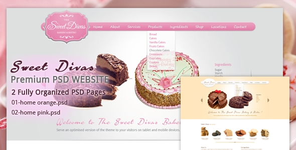 Sweet Diva's Backery a& Bistro PSD Template