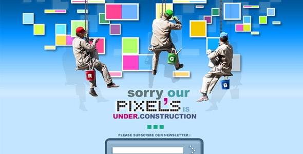 Pixels Under Construction coming soon page