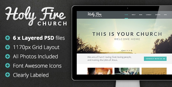Holy Fire - Church PSD Template