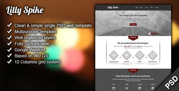 Lilly Spike - A Single Page PSD Template