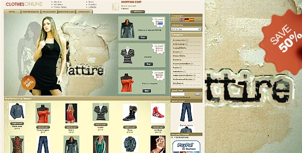 Clothes Oscommerce Online templates