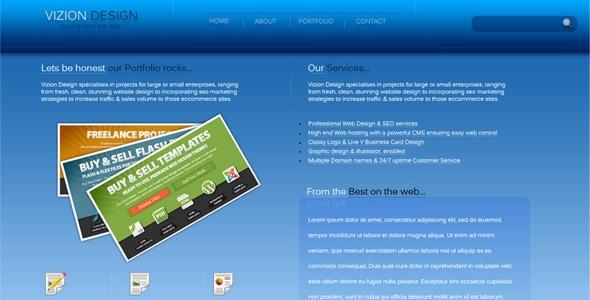 VizionDesign, A clean Fresh, blue coloured Business/Portfolio design. Free Download