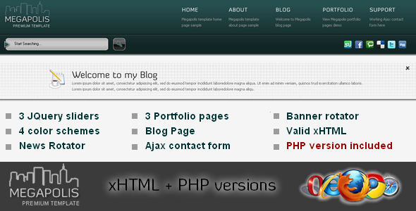 MEGAPOLIS. xHTML + PHP web template Free Download