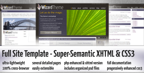 Wizard - Quirky Professional HTML5 / CSS3 Full Site Theme