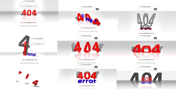 3D Creative 404 Error pages