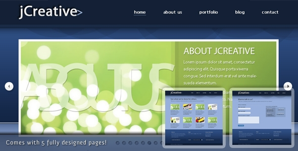 jCreative psd – Multiple pages blog / portfolio layout Free Download