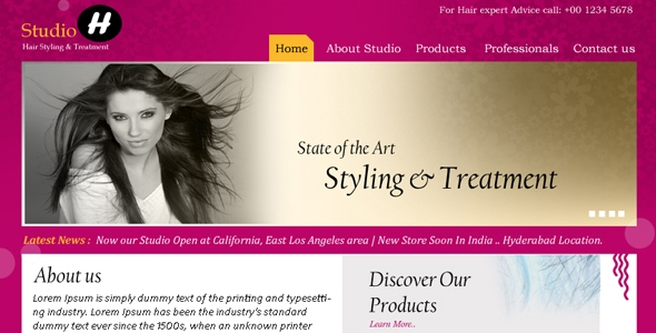 Hair Styling & Treatment Premium PSD Template Free Download