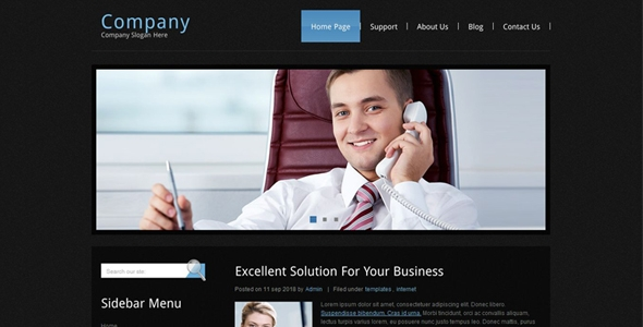 Amazing Black Theme Business Website Free Download