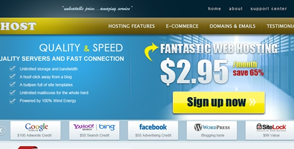 Single PSD Web Hosting Template Free Download