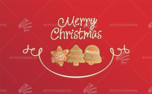 Merry Christmas Cookies Card Red