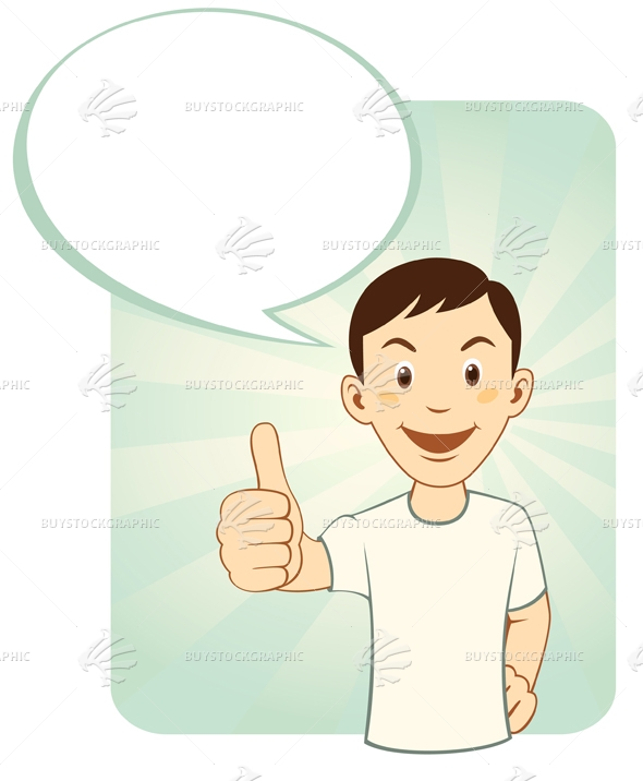 Cartoon man gesturing thumbs up