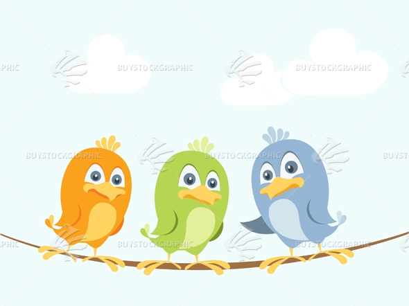 Cartoon birds chatting on a wire