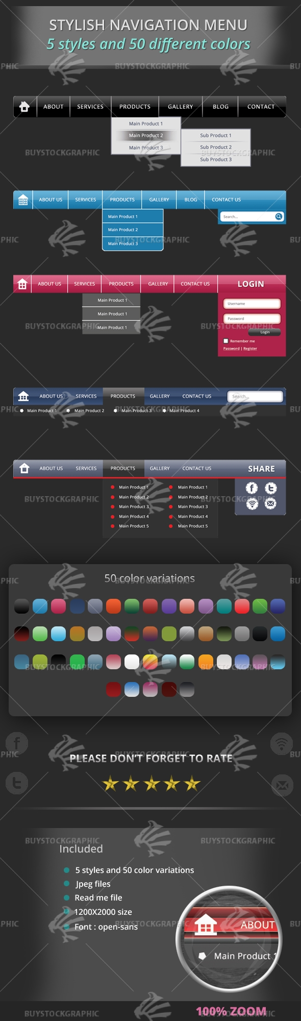 5 Stylish Navigation Menu with 50 Color Variations