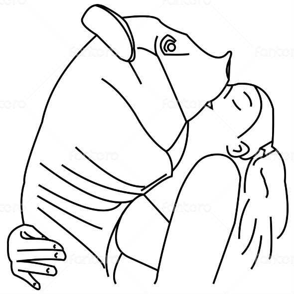 Girl kissing a pig