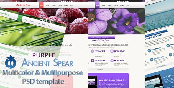 Ancient Spear PSD PURPLE Template