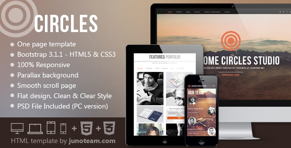 Circles-Parallax One Page HTML Template