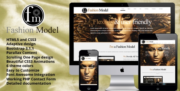 Fashion Model - Responsive One Page HTML5 Theme