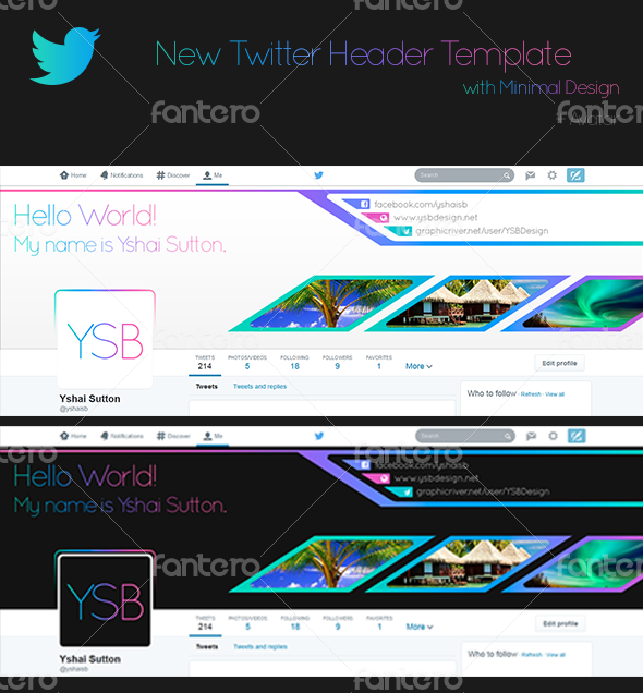 New Twitter Header Template with minimal design
