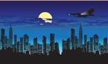NightCity with Acorssing Airoplane