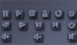 Purple media buttons