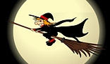 Witch flying over the moon. Halloween animation.