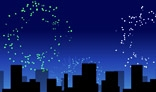 Randomized fireworks over night city.