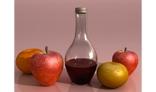 frutas y botella de vino