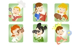 Cartoon girl icon set with teenager home and social activity