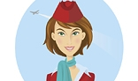 Beautiful smiling stewardess in red uniform