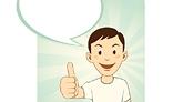 Cartoon man gesturing thumbs up
