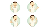 Set of gesturing cartoon casual man in various poses