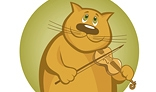 Smiling cartoon cat playing the violin