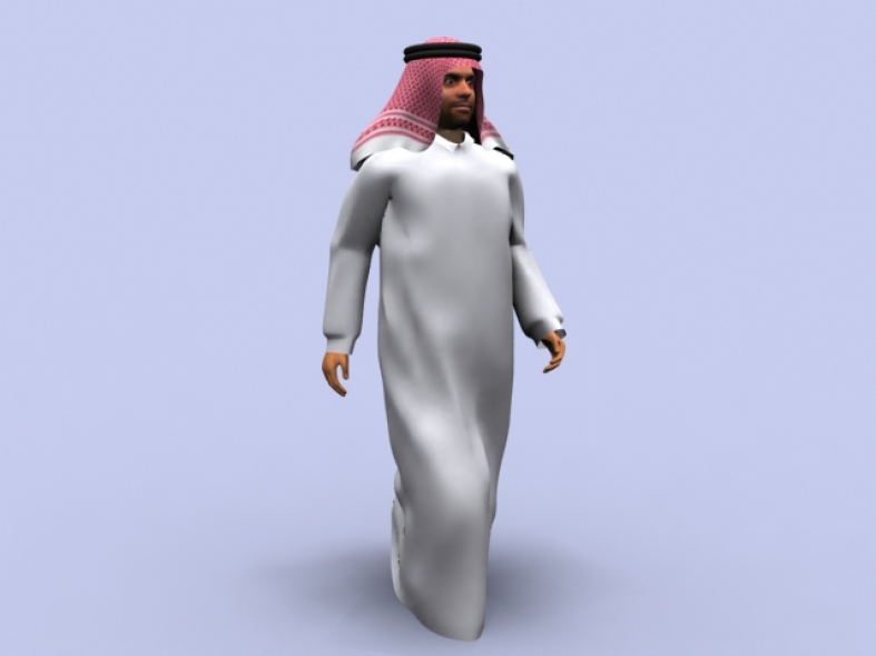 Arab Man Walking 3ds max 2009 or later
