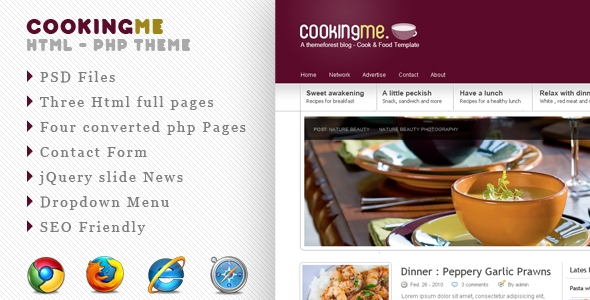 BuyStockDesign - Cookingme - Resaurant , food and cook HTML - PHP Theme - RiP.by.frwnet