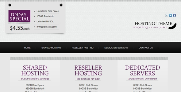 Clean, Minimum Hosting Design