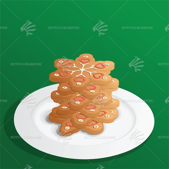 Stacked Christmas Gingerbread Cookies Snowflakes