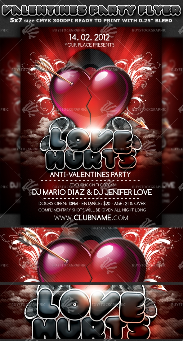 Singles Valentines Day Party Flyer Template