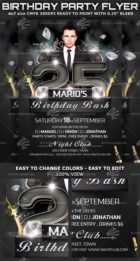 Birthday Bash Party-Club Flyer Template