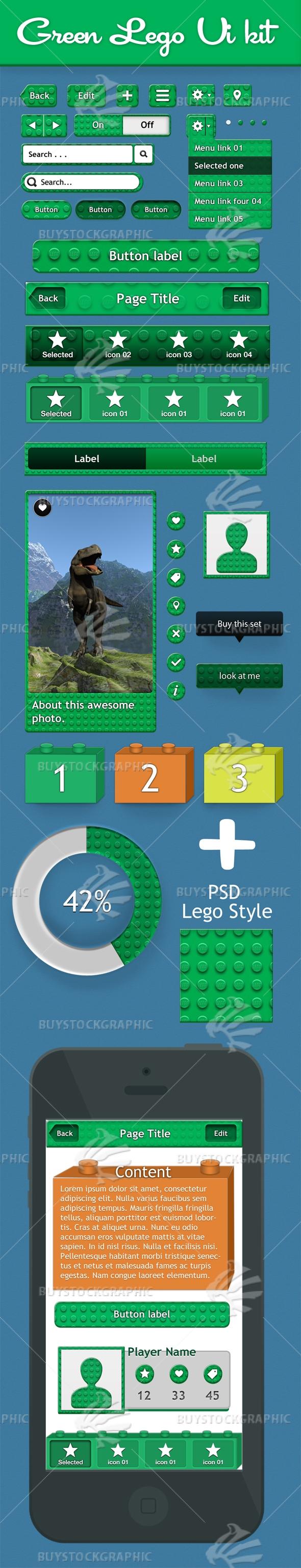 Green Ui kit lego style