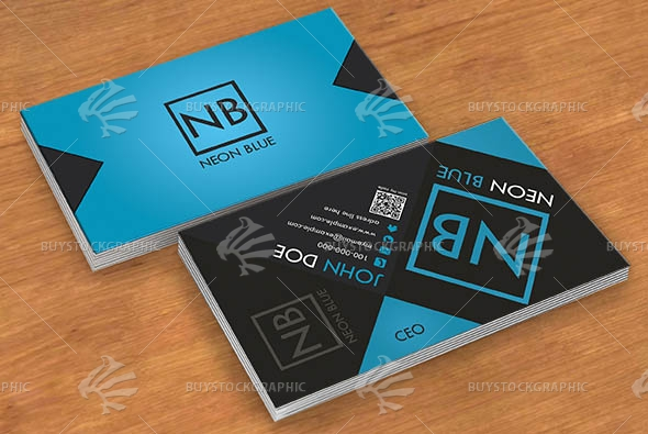 Neon Blue Modern Business card