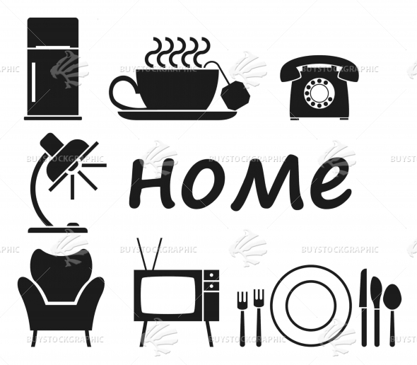 Icons household objects