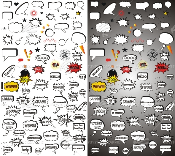 Comic vector elements.Mega pack.