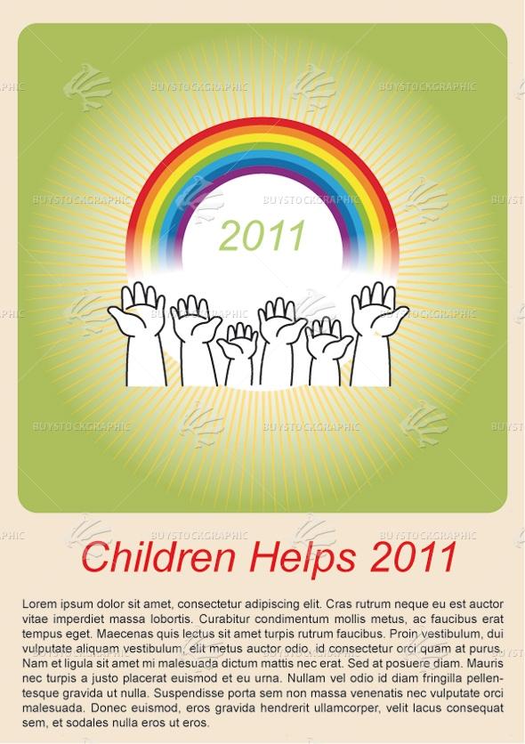 Children Helps Vector Brochure