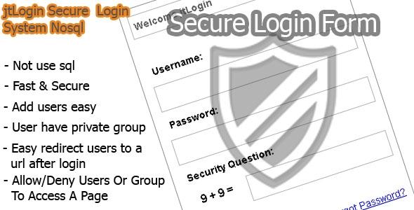 jtLogin Secure Login System Nosql